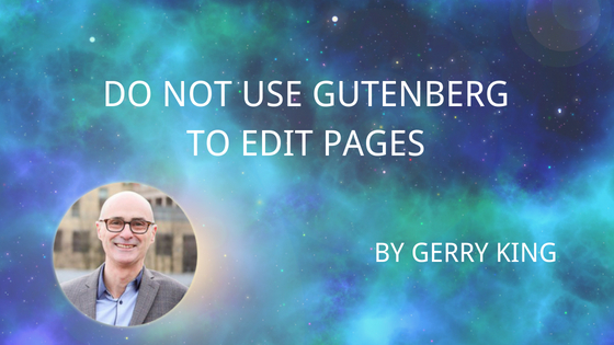 Do Not Use Gutenberg on Pages